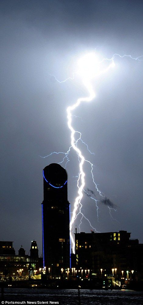 The south coast of England bore the brunt of the thunderstorms with lightning striking Por...
