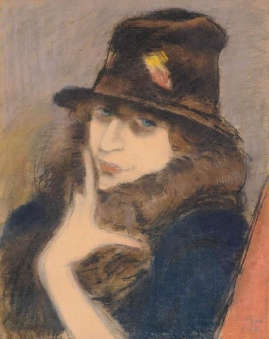 'Woman in Black Hat', 1918 by Jozsef Rippl Ronai (1861-1927, Hungary)