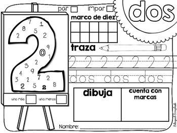 El arte de los números 0-20 {Number Practice Pages in Spanish}