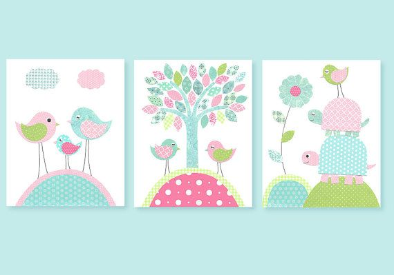 Aqua and Pink Nursery Art Birds Turtles Girl's Room Decor Playroom Baby 8 x 10 or 11 x 14 Print Set on Etsy, $38.00