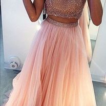 Charming Prom Dress, Two Piece Prom Dress,Long Tulle Prom Dress,Pretty Evening Dress,Formal Dress