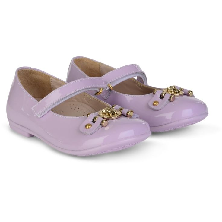 Young Versace Baby Girls Lilac Shoes with Strap Fastening and Gold Logo Pendant