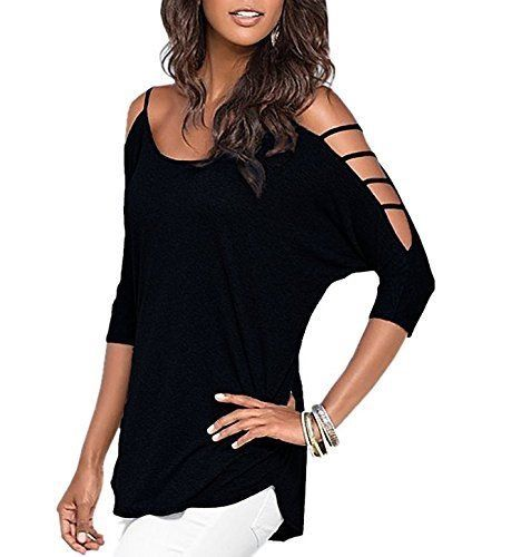 Women's Casual Loose Hollowed Out Shoulder Three Quarter Sleeve Shirts