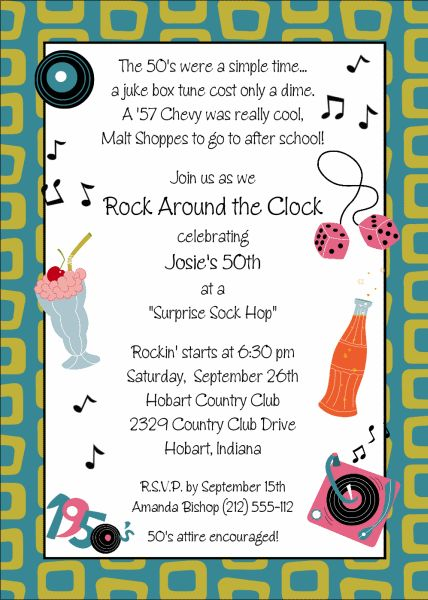 17 best ideas about 1950s Theme Party – 1950s Party Invitations