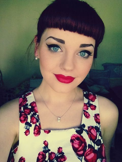 Love this makeup! Still trying to perfect it on my own face. #Retro #makeup #redlips