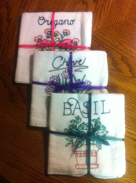 Hand embroidery on cotton dish towels diy pinterest