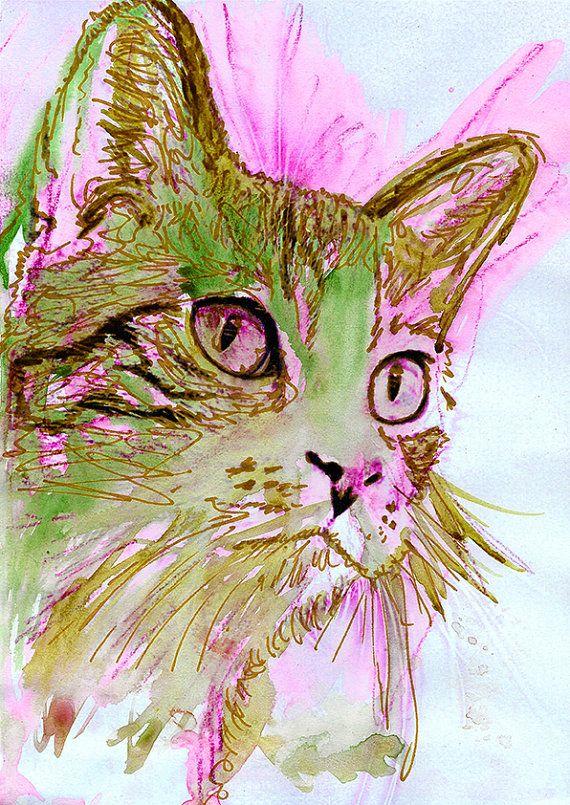 Cat Painting, Green Pink Cat Print ,fine art print Cat gift ,tabby cat gift idea tomcat pink cat wallart cat watercolour… #dogs #etsy #art