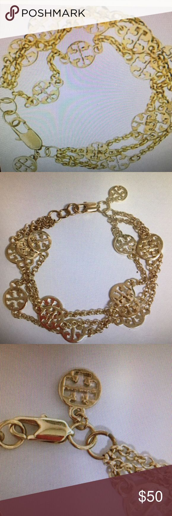 NWOT Tory Burch multi strand Logo bracelet Beautiful Tory Burch multi strand Logo Bracelet measures a little over 7 inches Tory Burch Jewelry Bracelets