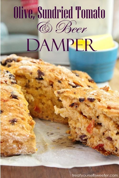Olive, Sundried Tomato and Beer Damper. Love quick breads. :)