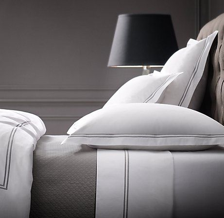 Classic and clean Italian Hotel Satin Stitch Bedding from Restoration Hardware