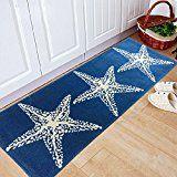 yazi Non-Slip Doormat Kitchen Rugs Mediterranean style With White Starfish 17.745.3inch Mothers Day Gift