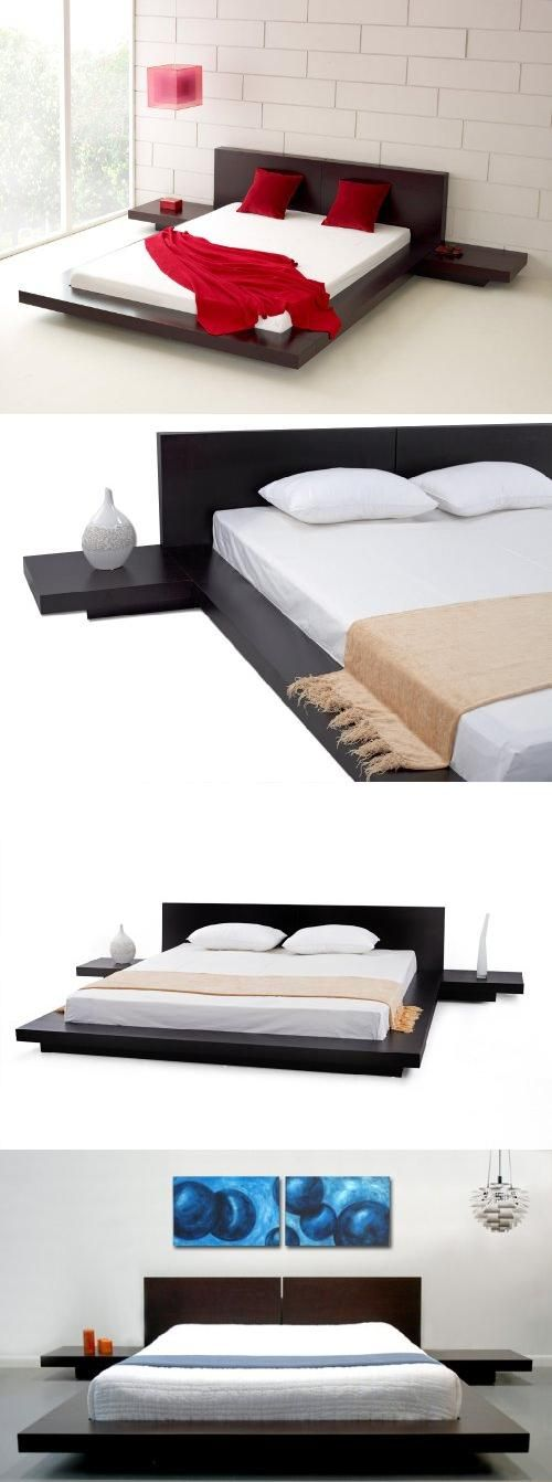 Fujian Modern Platform Bed + 2 Night Stands Queen (Espresso), This Japanese style platform bed features a low profile, solid hardwood (MDF) frame with matching symmetrical nightstands, finished in a Wenge veneer.  Mattress is supported by Slats. 77 inches wide x..., #Home & Garden, #Beds & Bed Frames