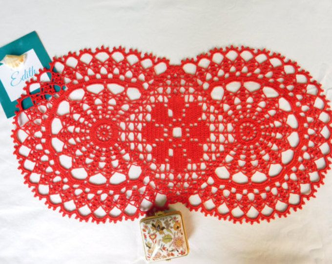 "Oval red crochet tablecloth (48cm x 26cm or 18.89"" x 10.24""), table runner, lace doily, table centrepiece, coffee tablecloth"