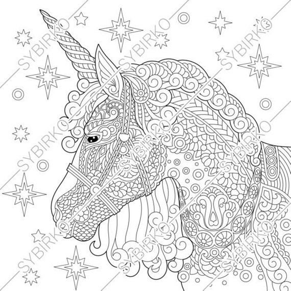Coloring Pages for adults. Unicorn. Fairytale horse ...