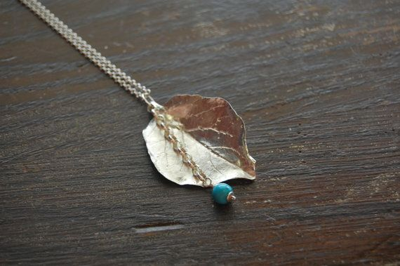 Sterling Silver Cast Leaf Necklace with Turquoise, Long Chain,36 inch, Real Leaf, Handmade, one of a kind on Etsy, $80.00 CAD