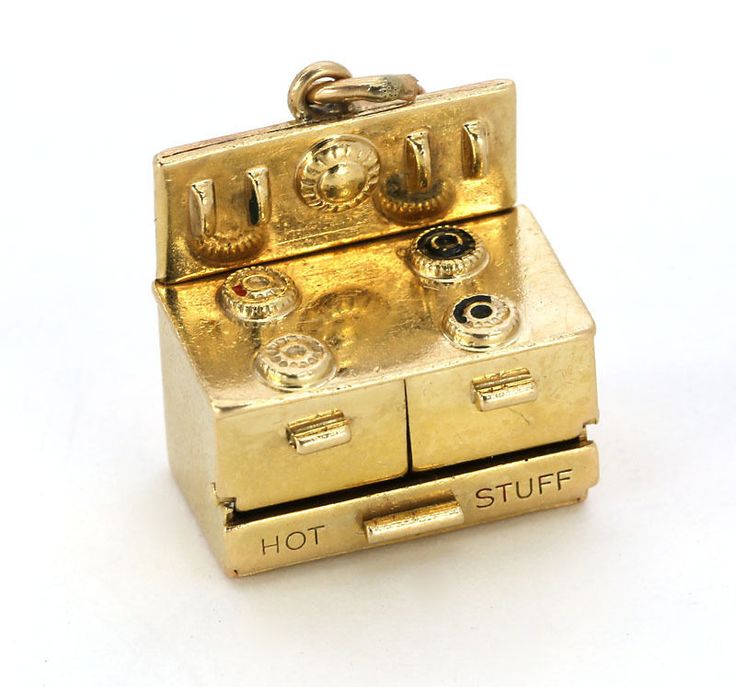 14k circa 1940's movable Antique Oven Charm Says Hot Stuff, 5.6 grams, $575.00 OBO eBay, 11-1-14
