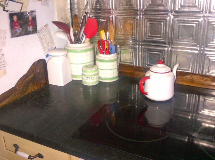 the cottage green looks great with the soapstone and tin at the cottage!