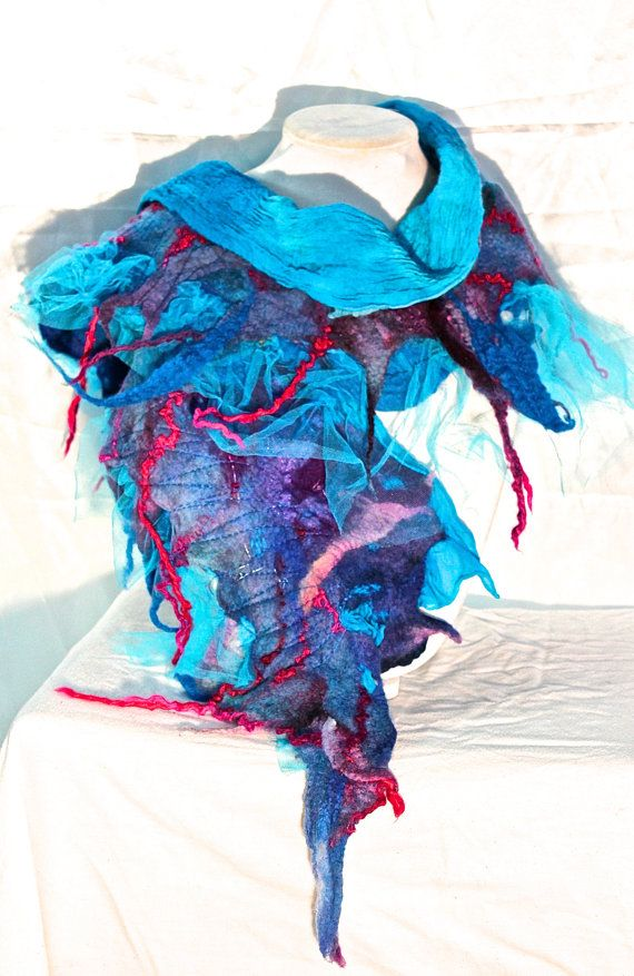 Nuno Felted Silk Shawl. Turquoise and Purple by MindfulPresents