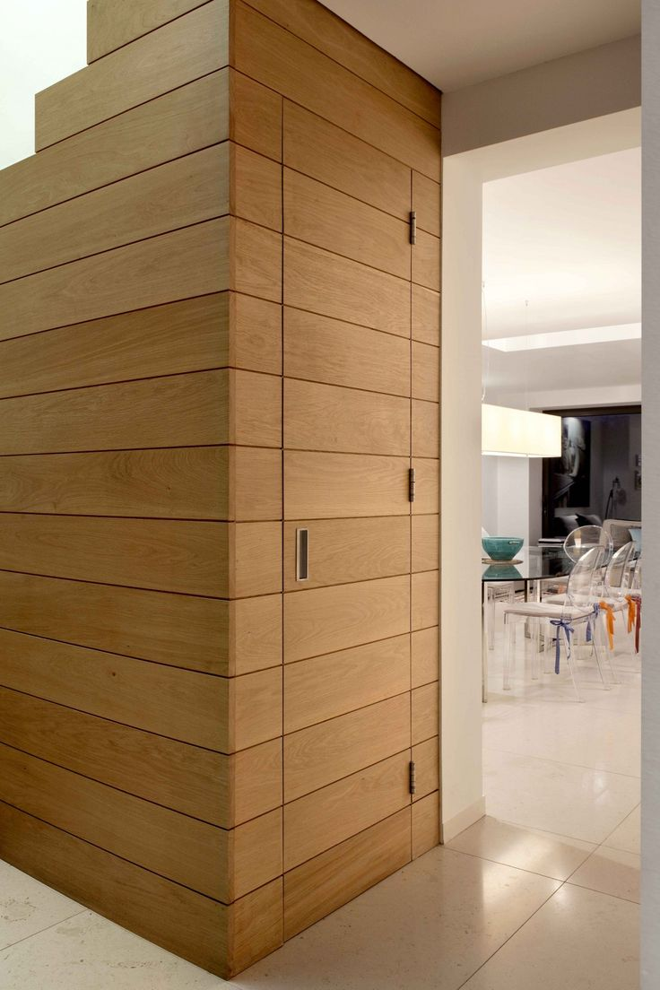 Entry Wall Cladding : Hidden wooden door timber cladding extrarchitecture