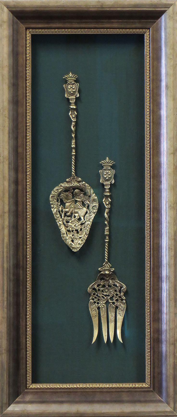 This antique brass serving set pops off a deep hunter green silk matboard. You…
