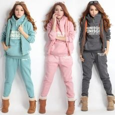 Women Autumn Stylish Hoodies Suit Thickening Sports Hoodie Hoody + Pant + Vest 3pcs