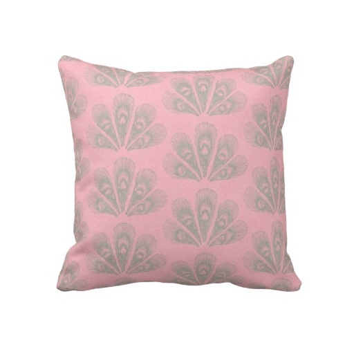 Grey And Pink Decorative Pillows : Pink and Gray Peacock Throw Pillow
