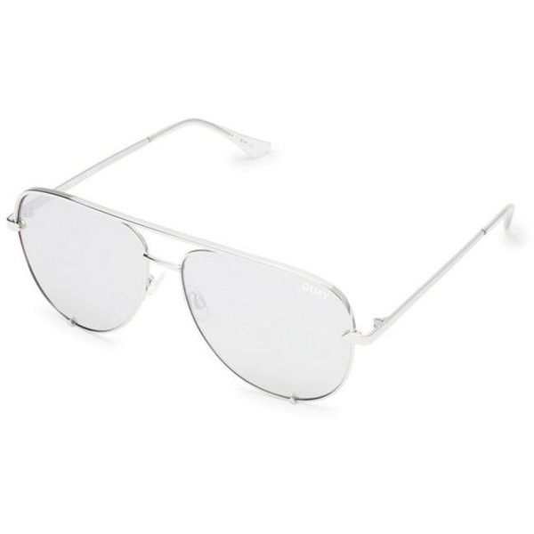 Quay Australia Silver 'High Key' oversized aviator sunglasses ($68) ❤ liked on Polyvore featuring accessories, eyewear, sunglasses, metal frame sunglasses, flat-top sunglasses, blue sunglasses, oversized aviator sunglasses and oversized aviator glasses