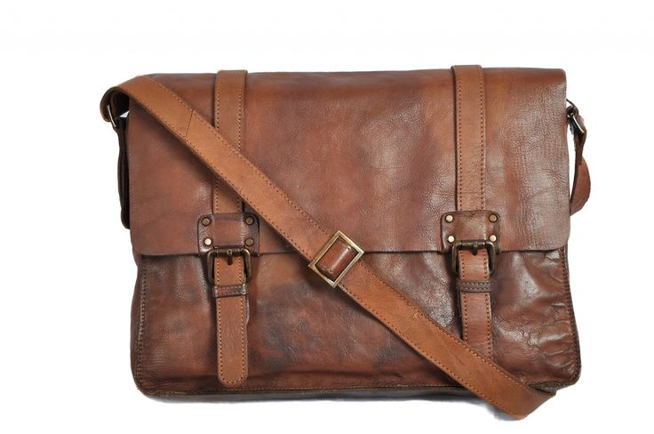 Rust Brown Leather Messenger Bag Vintage Style Shoreditch Range from Ashwood