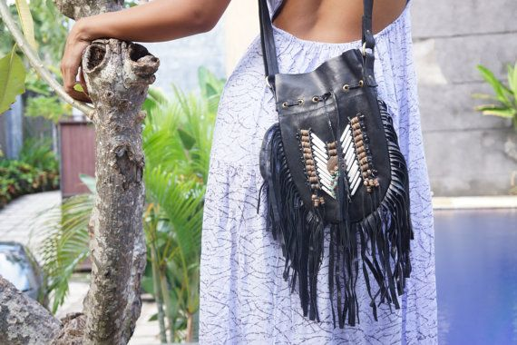 Boho Handbag Black Bohemian Bag Bohemian by BramsKaraDesign