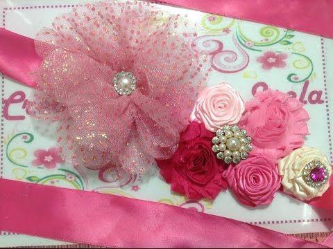 tiara de flores en cinta raso y gros para diademas tres flores