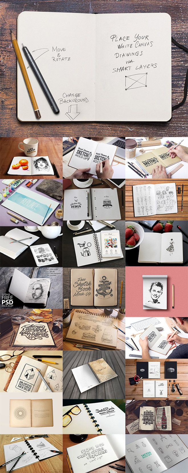 Mockup templates of sketchbooks and notepads are useful tools to show off your artwork or design concepts in a much more presentable way than simply uploading a flat scan of your drawings. These free PSD templates allow you to paste in your boring scans to have them automatically scaled and positioned to fit within the …