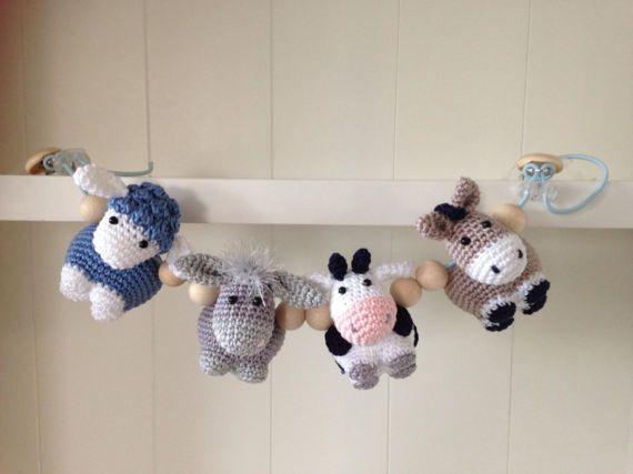 Crochet pattern Stroller Chain Farm animals