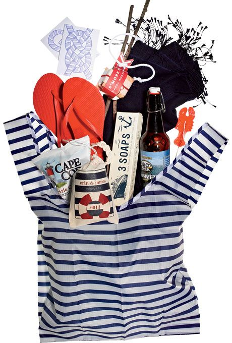 Brides.com: Destination Wedding Favors with Local Flavor. Destination: Cape Cod. For a New England celebration, Jessica Harris of Alden Blair Events loves all things nautical: lobster lollipops, rope bracelets, and slip-knot stationery.  Blue-and-white striped tote bag, $9, Baggu; Red flip-flops, $3.94, Old Navy; Sailing-knot cards, $16 for six, Enormous Champion; Custom s'mores kit, $7, Paisley Quill; Navy blue pashmina, $50, The Pashmina Store; Lobster lollipop, $24 for 48, Melville's; ...