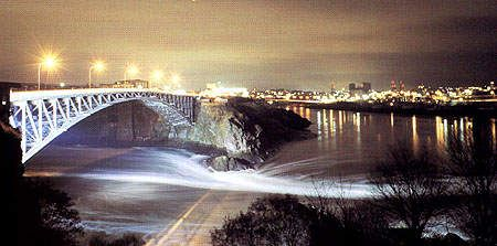 Reversing Falls, , Saint John, New Brunswick, Canada   The phenomenon of the Reversing Falls is caused by the tremendous rise and fall of the tides of the Bay of Fundy, which are the highest in the world.
