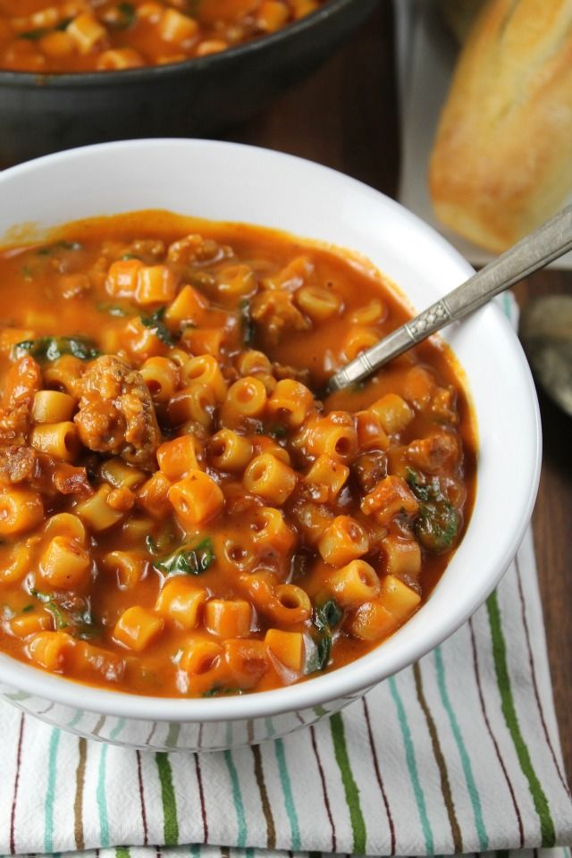 Italian Sausage Pasta Soup Recipe from Miss in the Kitchen #NourishEveryBody #sponsored