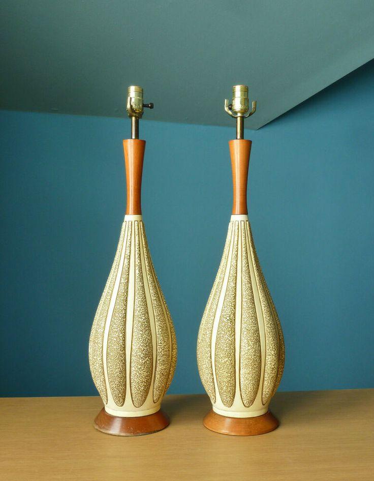Lamp Pair Vintage FAIP Ceramic MCM Table Lighting Teak ...