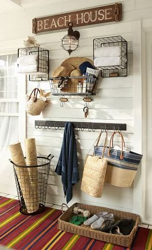 Seaside chic http://rstyle.me/n/kfnenn2bn. I like the idea of a basket for shoes…