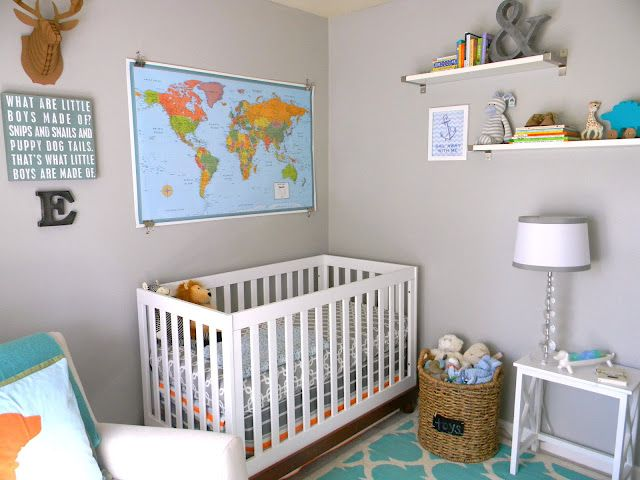 Modern, whimsical nursery - love the map over the crib! #nursery #modernWall Colors, Schue Nurseries, Baby Boys Nurseries,  Cot, World Maps, Cribs, Nurseries Sources, Nurseries Ideas, Baby Nurseries
