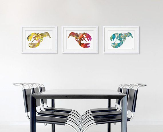 Lobster Print Set of 3 - Minimalist Art - Watercolor Poster Silhouette Art - 11x14 Print - American Lobster, Wall Decor, Home Decor, Gifts on Etsy, $90.00