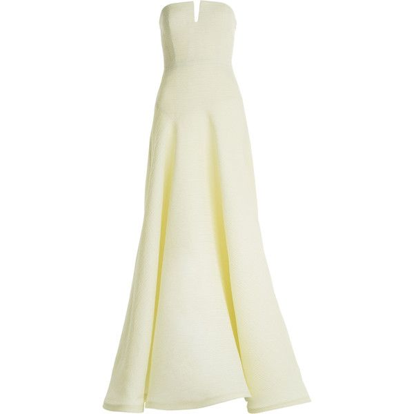 Jason Wu - Silk Gauze Floor Length Gown featuring polyvore, fashion, clothing, dresses, gowns, long dresses, vestidos, maxi dresses, yellow, evening/black tie, women, yellow maxi dress, black evening dresses, evening dresses, black cocktail dresses and maxi dress