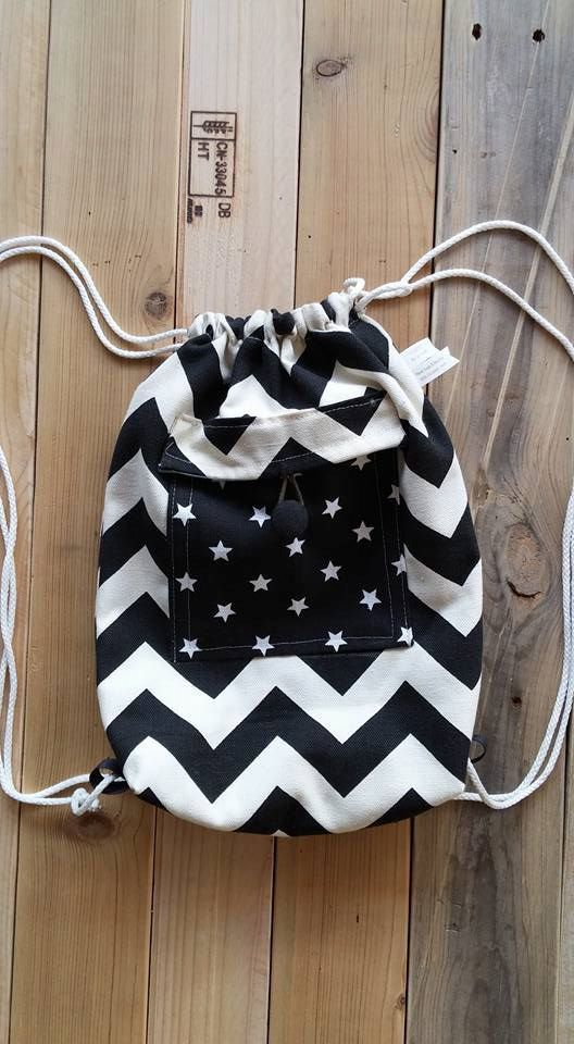 Zig-zag,Backpack Canvas Cotton drawstring Hip bag Handmade bag Gift for her,Front pocket,Star,Black and white,