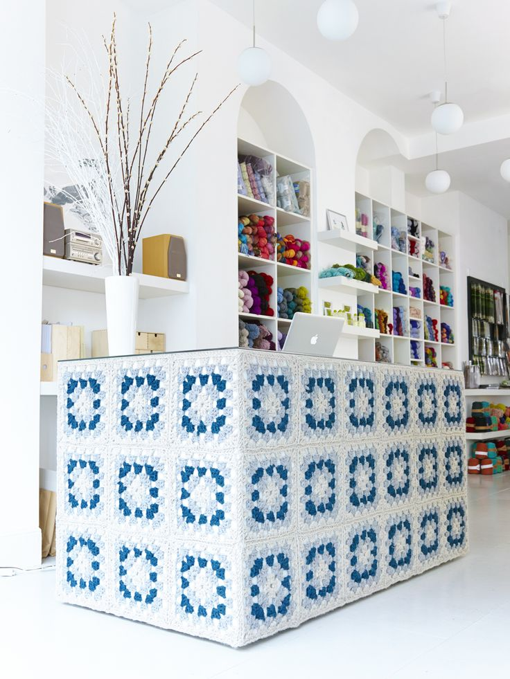 Crocheted Yarn Bombed, Granny Square Shop Counter ❥ 4U // hf: