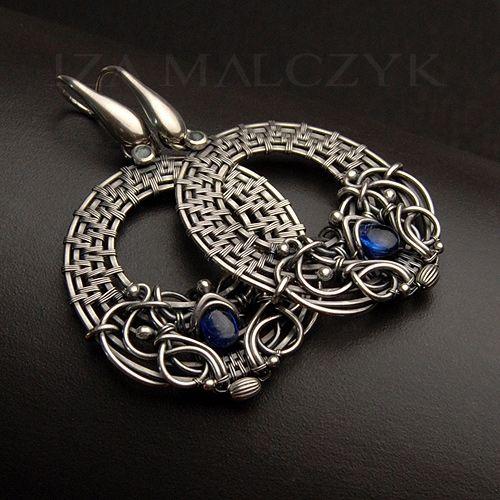The Sea Loop earrings by Iza Malczyk. Sterling and fine silver, kyanite, topaz.
