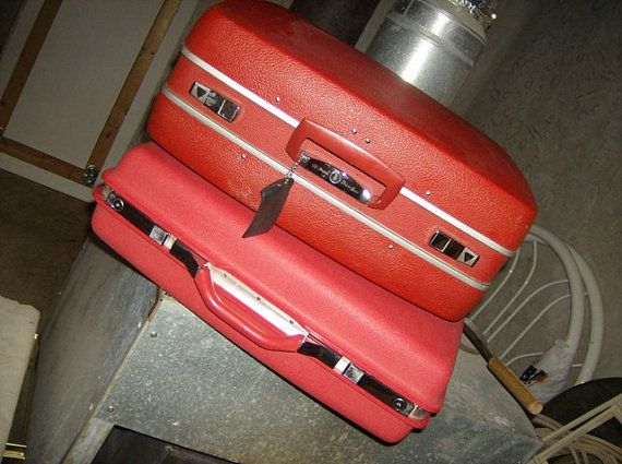 Gorgeous Red Vintage Suitcases On Sale as a Set from Leonard1. Another one of my favorite Etsy shops  - Therese is a wonderful person to deal with. Go say hi.