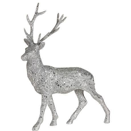 Julpynt: Ren i silverglitter
