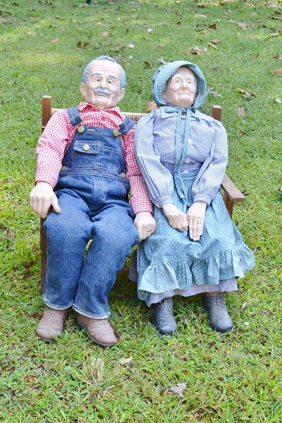 LARGE GRANDMA GRANDPA OLD MAN WOMAN CERAMIC DOLLS WITH