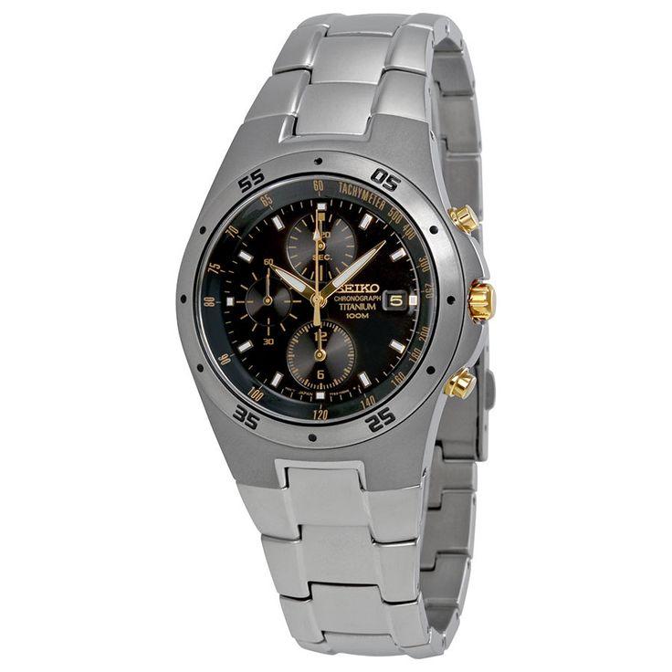 Seiko Titanium Chronograph Black Dial Mens Watch SND451