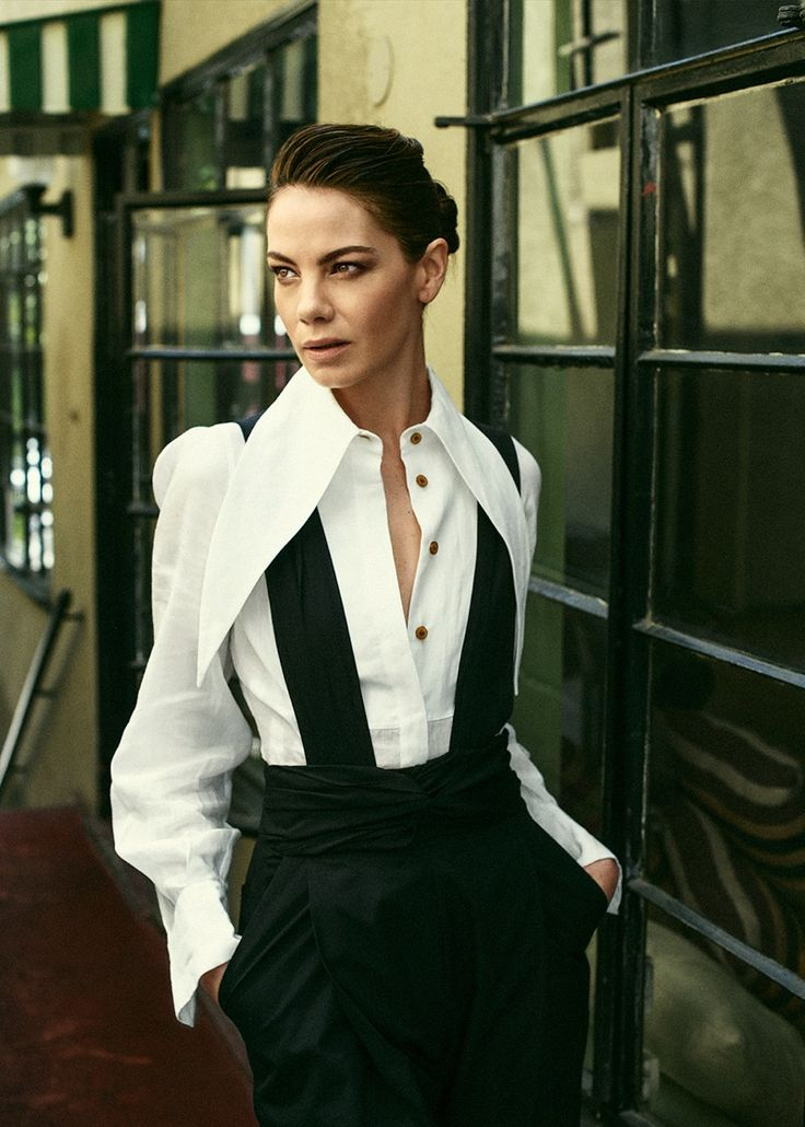 Michelle Monaghan looks sharp in Vivienne Westwood shirt with Rachel Comey…