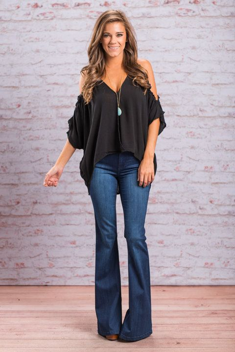 """Cold Shoulder Ruffle Detail Top - Black"" If you feel the need to always be one step ahead of the fashion curve then we have just the top for you! This solid black top is fabulous! #newarrivals #shopthemint"