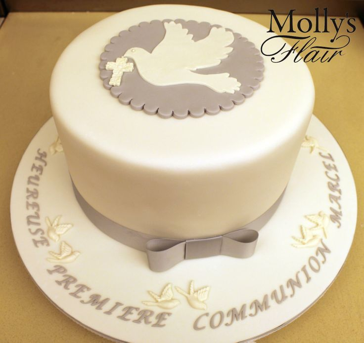 Special Occasion cake - White & Grey simple 1st Communion cake by Molly's Flair